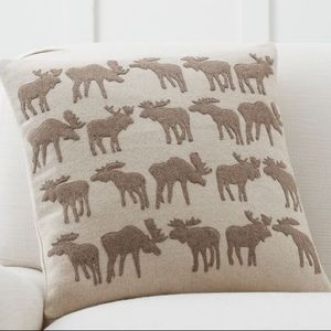 """POTTERY BARN Moose Appliqué Pillow Cover Wool 18"""""""